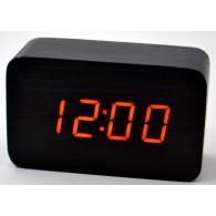 Часы настольные VST-863-1 крас.цифры, чер.корпус (дата, темп., будильник,4*ААА)
