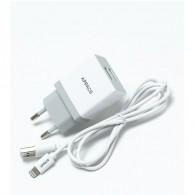 Адаптер 220V->2*USB 2.4A APPACS APEUT52i, кабель lightning, 2USB