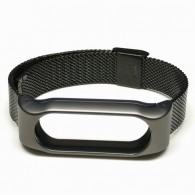 Ремешок для фитнес-браслета Mi2 металл черный (тонкое плетение)