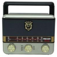 Радиоприемник М-U125 (USB/microSD/Fm/акб/2*R20) серебро Meier