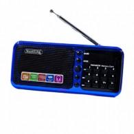 Радиоприемник HN-S362LED (USB/microSD/акб 18650/часы) синий Haoning