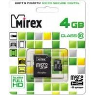 Карта памяти microSDHC Mirex 4GB Class 10 с адаптером