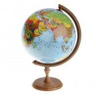 Глобус с подсветкой 32см физико-полит карта, дер.подставка (1258808)