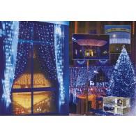 Уличная штора 925 LED 2,4*3м синяя, мигает бел, прозр шнур (OLDCL925-TB-E-F)