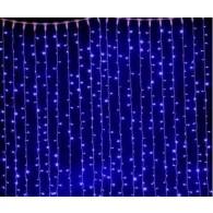 Эл. штора уличная 625 LED 2,5*1,5м синяя, прозр.шнур (OLDCL625-TB-E)