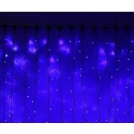 Эл. штора уличная 625 LED 2,5*1,5м синяя, черный шнур (OLDCL625-TB-E)