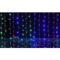 Эл. штора 240 LED цветная, 1,5х1,5м белый шнур