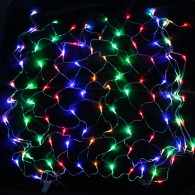 Эл. гирлянда - сетка 140 LED разноцв., 1,5х1,5м прозр. шнур
