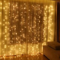 "Эл. штора 560 LED ""Дождь"" желтая, 3х3м прозр. шнур"