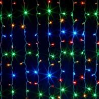 Штора 320 LED цветная, 3х2м прозр. шнур