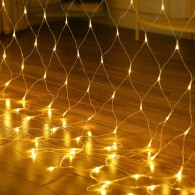 Гирлянда - сетка 240 LED тепл.бел., 2х2м прозр. шнур