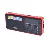 Радиоприемник HN-S363LED (USB/microSD/акб 18650/часы) красный Haoning