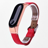 Ремешок для фитнес-браслета Mi3 кожаный красный