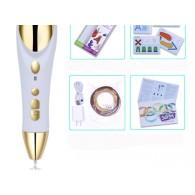 3D ручка белая (3 нити разного цвета в комплекте) ABS и PLA