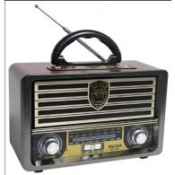 Радиоприемник М-113ВТ (Bluetooth/USB/microSD/Fm/акб/2*R20/пульт) корич Meier