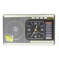 Радиоприемник М-U40 (Fm/microSD/AUX/акб/2*R20/часы/фонарь) серебро Meier