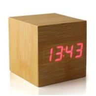 Часы настольные VST-869-1 крас.цифры, корич.корпус(дата, темп., будильник, 3*АА
