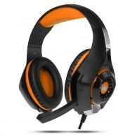 Наушники Crown CMGH-102T USB игровые черно-оранж