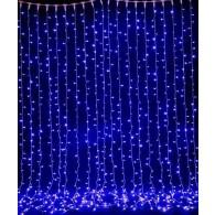 Эл. штора 320 LED синяя, 2х3м прозр. шнур