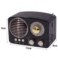 Радиоприемник М-161ВТ (Bluetooth/USB/microSD/Fm/AUX/акб) черный Meier
