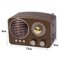Радиоприемник М-163ВТ (Bluetooth/USB/microSD/Fm/AUX/акб) корич Meier