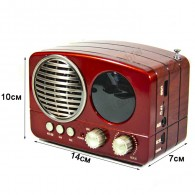 Радиоприемник М-163ВТ (Bluetooth/USB/microSD/Fm/AUX/акб) красный Meier