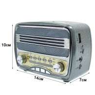 Радиоприемник М-166ВТ (Bluetooth/USB/microSD/Fm/AUX/акб.18650) черный Meier