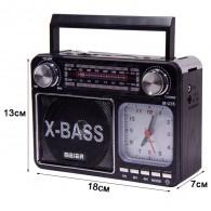 Радиоприемник М-U35 (USB/microSD/Fm/AUX/акб/2*R20/фонарь/часы) черный Meier