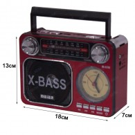 Радиоприемник М-U36 (USB/microSD/Fm/AUX/акб/2*R20/фонарь/часы) красный Meier