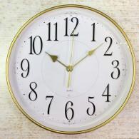 Часы настенные Бюрократ R76P D29см белый циферблат, золотой корпус