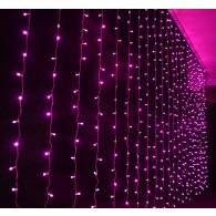 Штора 240 LED розовая, 2х2м прозр. шнур