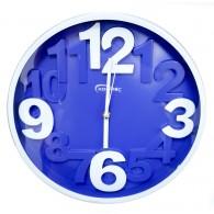 Часы настенные круглые синий циферблат, белые цифры 7636 (1АА)
